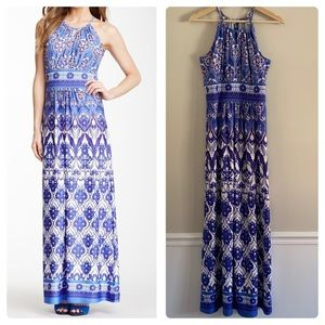 Maggy London blue white floral maxi dress